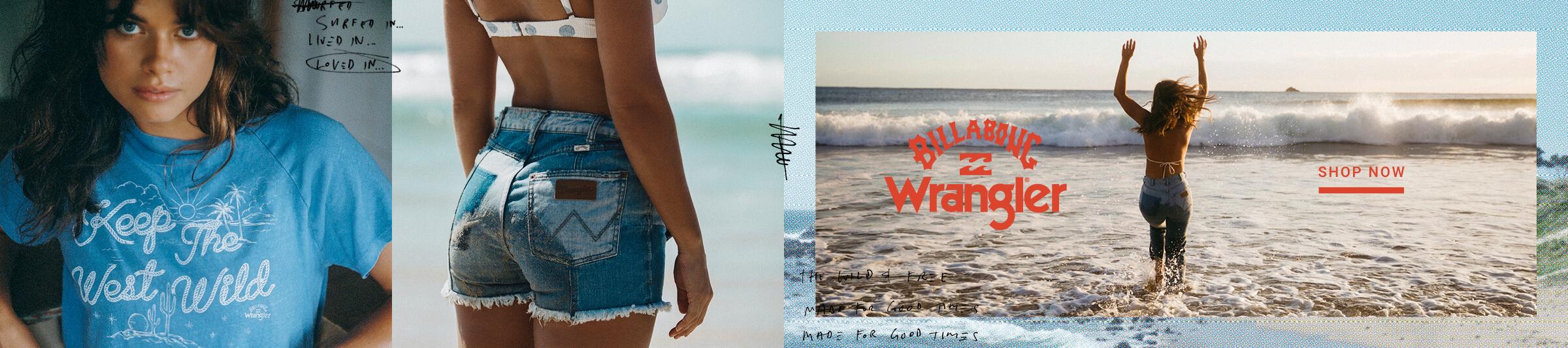 Billabong x Wrangler - Shop Now - Gal wearing a Billabong swim top and Wrangler Jeans in the ocean.
