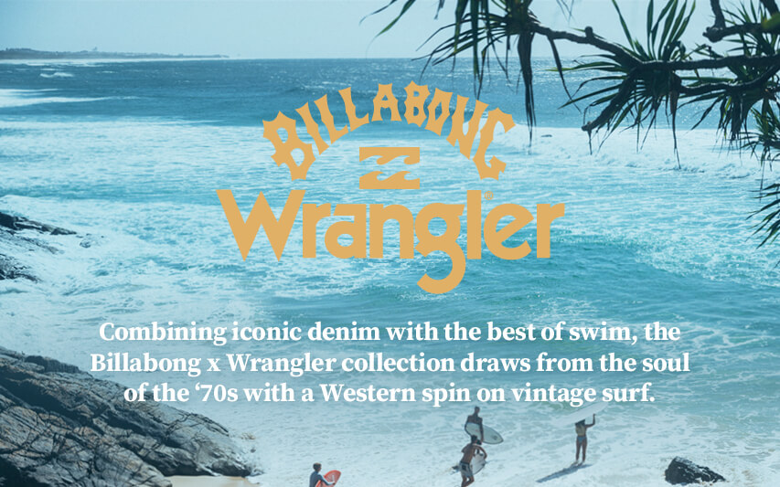 Combining iconic denim with the best of swim, the Billabong x Wrangler collection draws from the soul of the '70s with a Western spin on vintage surf.