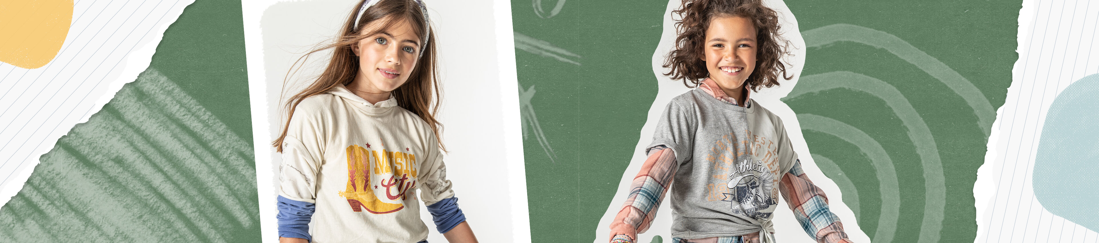 A girl wearing a cream graphic tee. A girl wearing a grey graphic tee over a plaid tee.