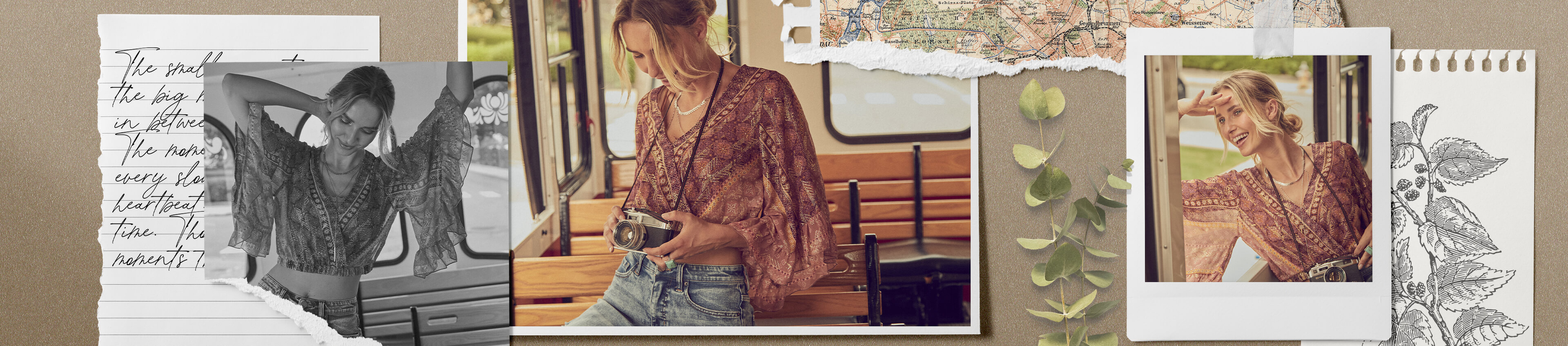 A gal sitting in a trolley wearing a burgundy floral cropped top with light wash denim.
