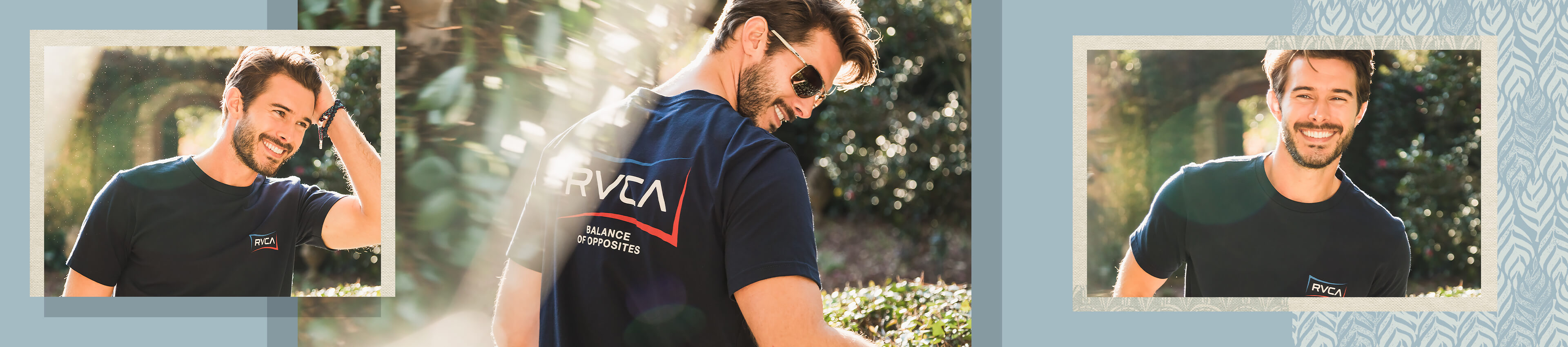 Guy wearing a blue RVCA graphic tee