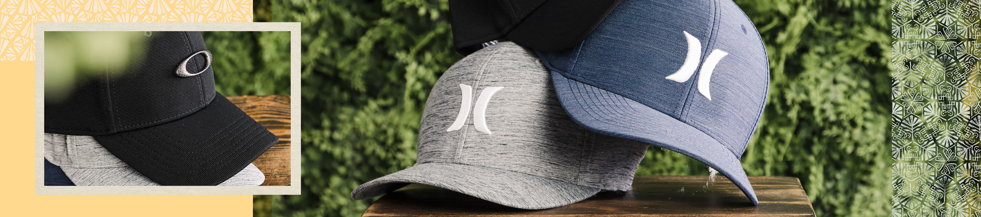 A black Oakley hat and a blue and grey Hurley hats
