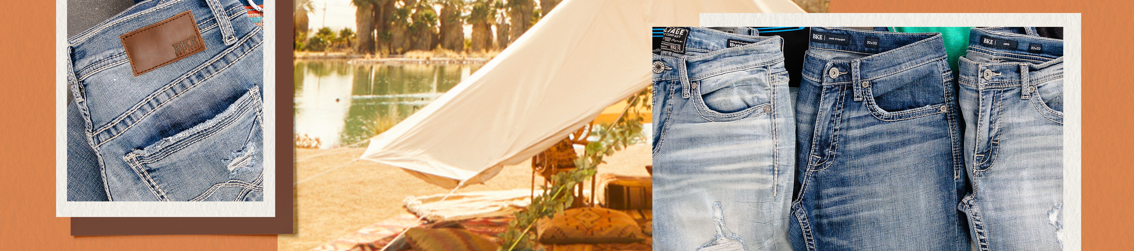 Three pairs of sale denim hanging on a clothesline