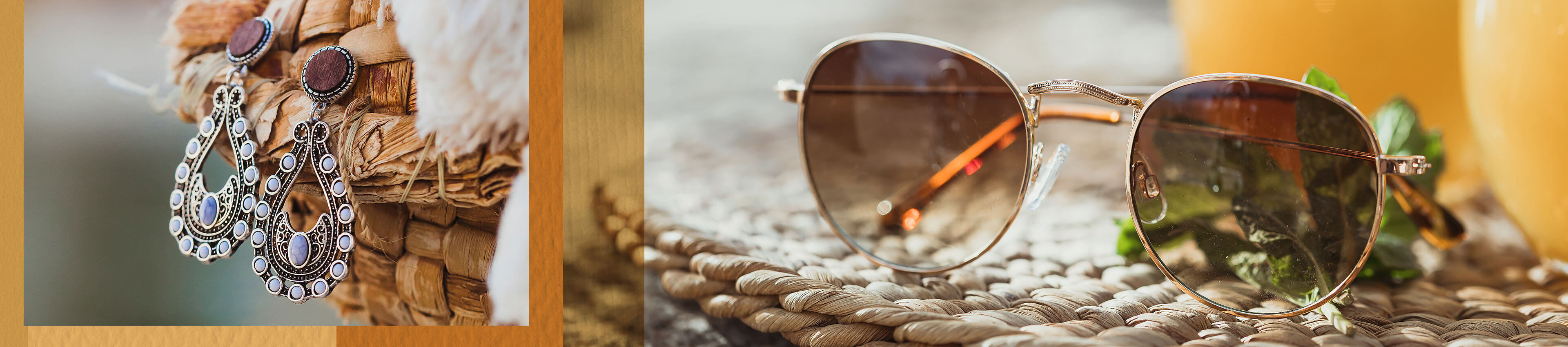 A pair of women's silver earrings and a pair of women's sunglasses