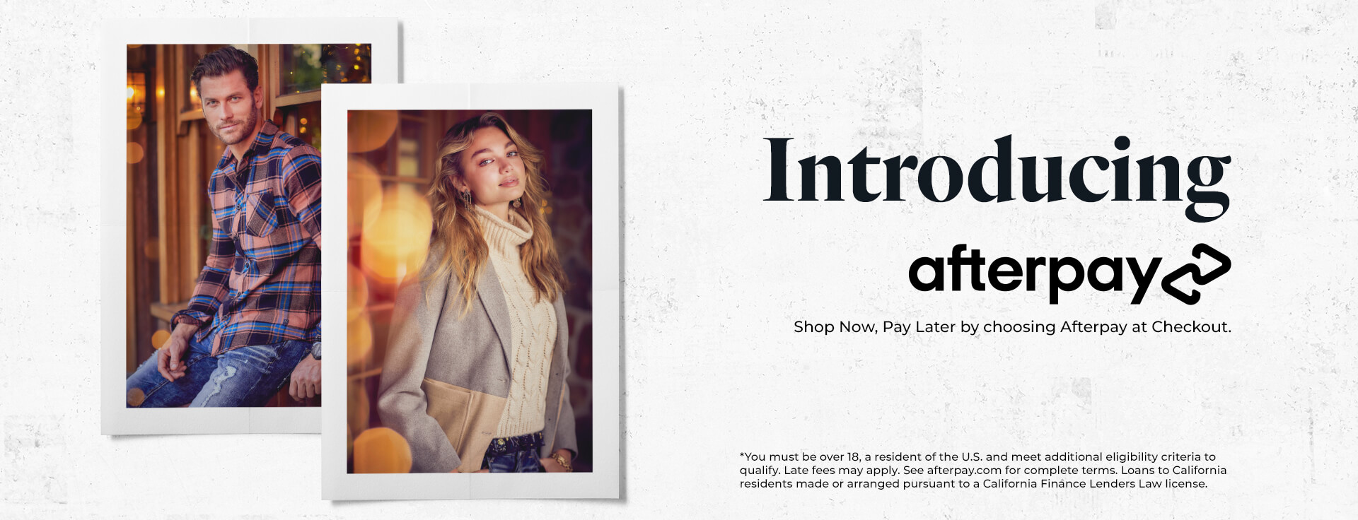 Introducing Afterpay - Shop Now, Pay Later by choosing Afterpay at Checkout Shop Now