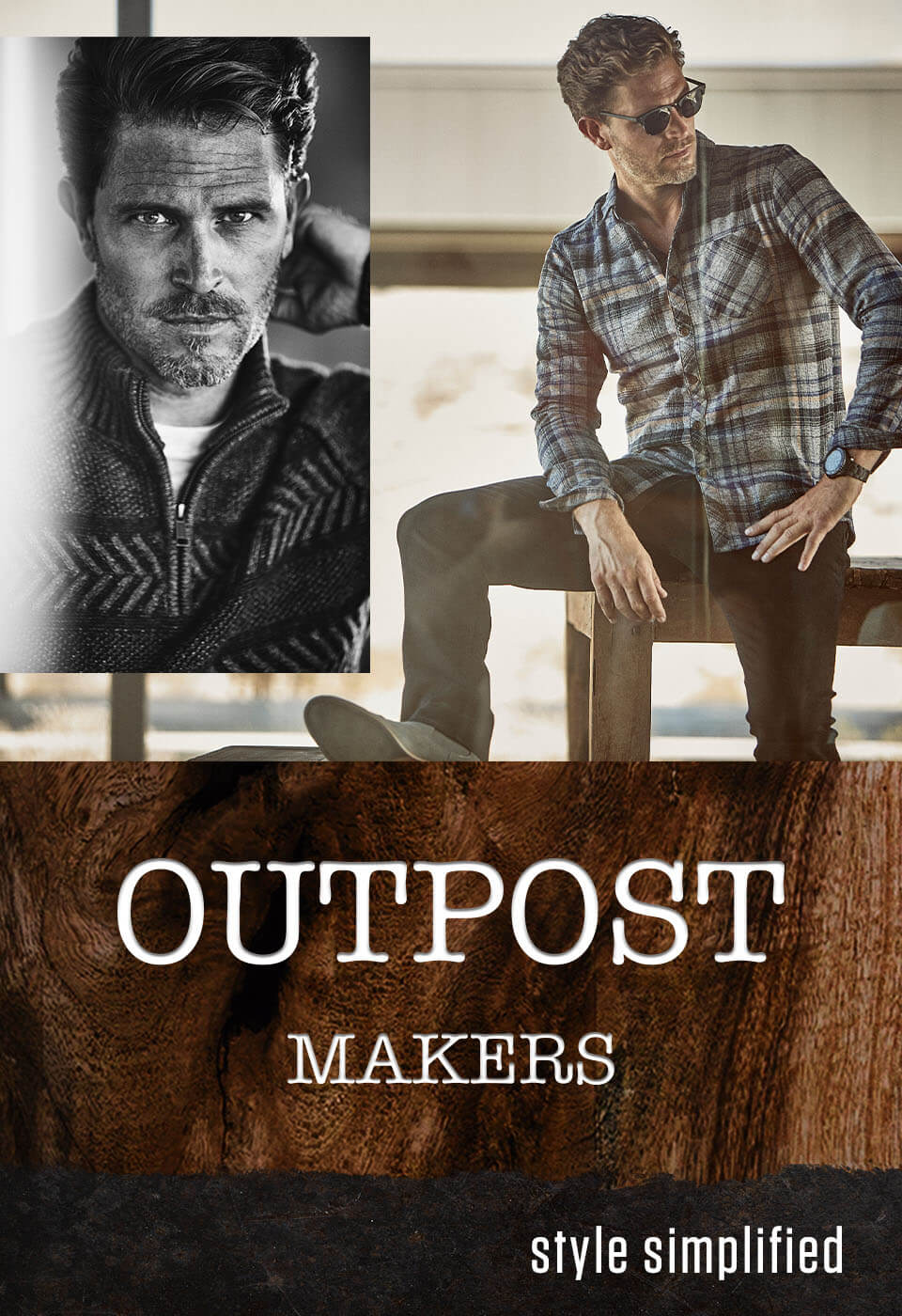 A guy wearing a blue and grey plaid Outpost Makers shirt and Outpost Makers jeans. A guy wearing a blue long sleeve Outpost Makers shirt with dark wash Outpost Makers jeans.