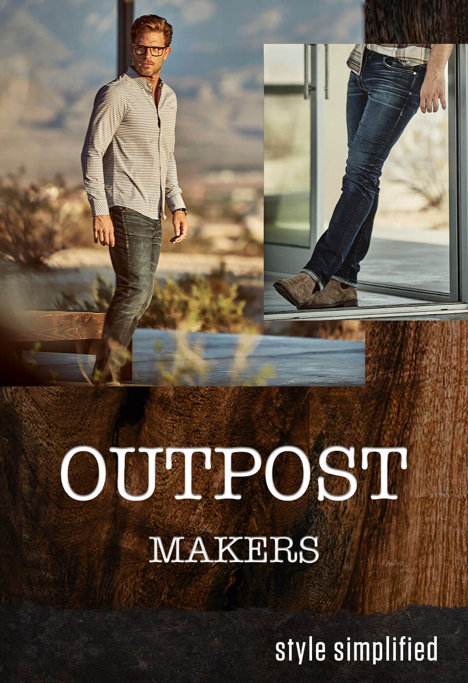 Outpost Makers - A guy wearing a grey Outpost Makers long sleeve shirt with dark wash Outpost Makers jeans