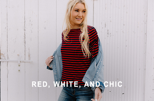 Girl wearing a red and black striped Gimmicks top with cropped denim and denim jacket