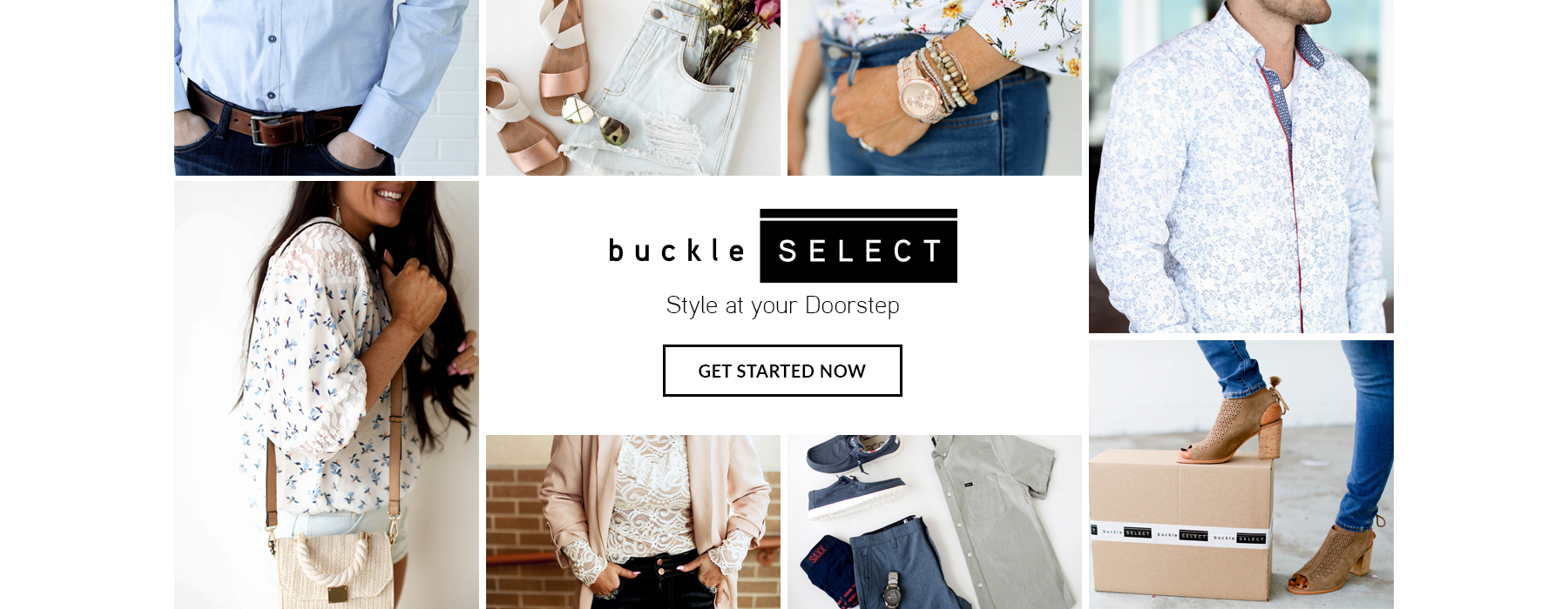 Buckle Select - Woman wearing a white floral top and a man wearing a blue button up long sleeve shirt