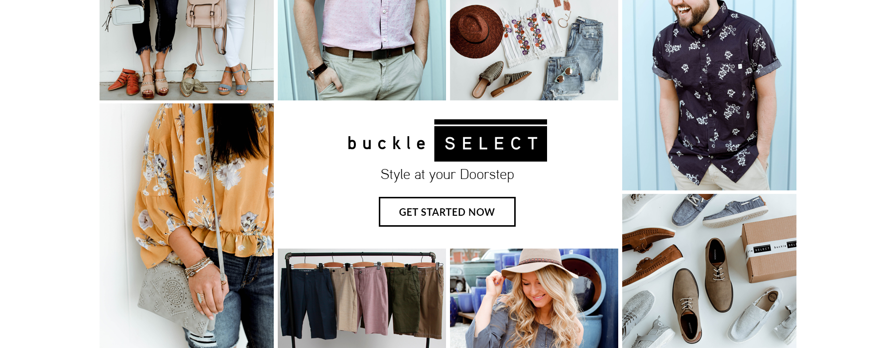 Collage of pictures showing different outfits and products that will come in your buckle SELECT order, delivered to your doorstep.