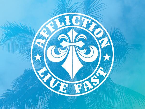 Affliction, Live Fast logo on bright blue decorative background.