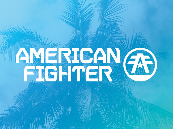 American Fighter logo on bright blue decorative background.