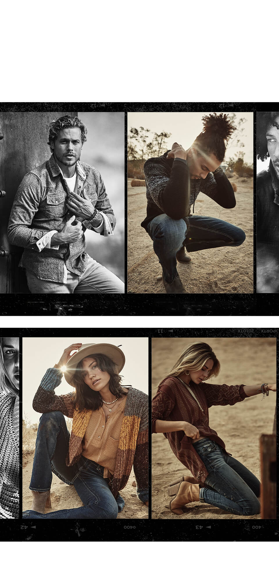 Gal wearing an orange, brown and grey BKE cardigan sweater and BKE jeans. A gal wearing a brown BKE top and BKE jeans. A guy wearing a button up BKE shirt and BKE jeans. A guy wearing a BKE sweater with dark wash BKE jeans.