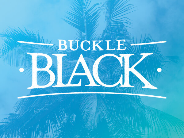 Buckle Black logo on bright blue background.