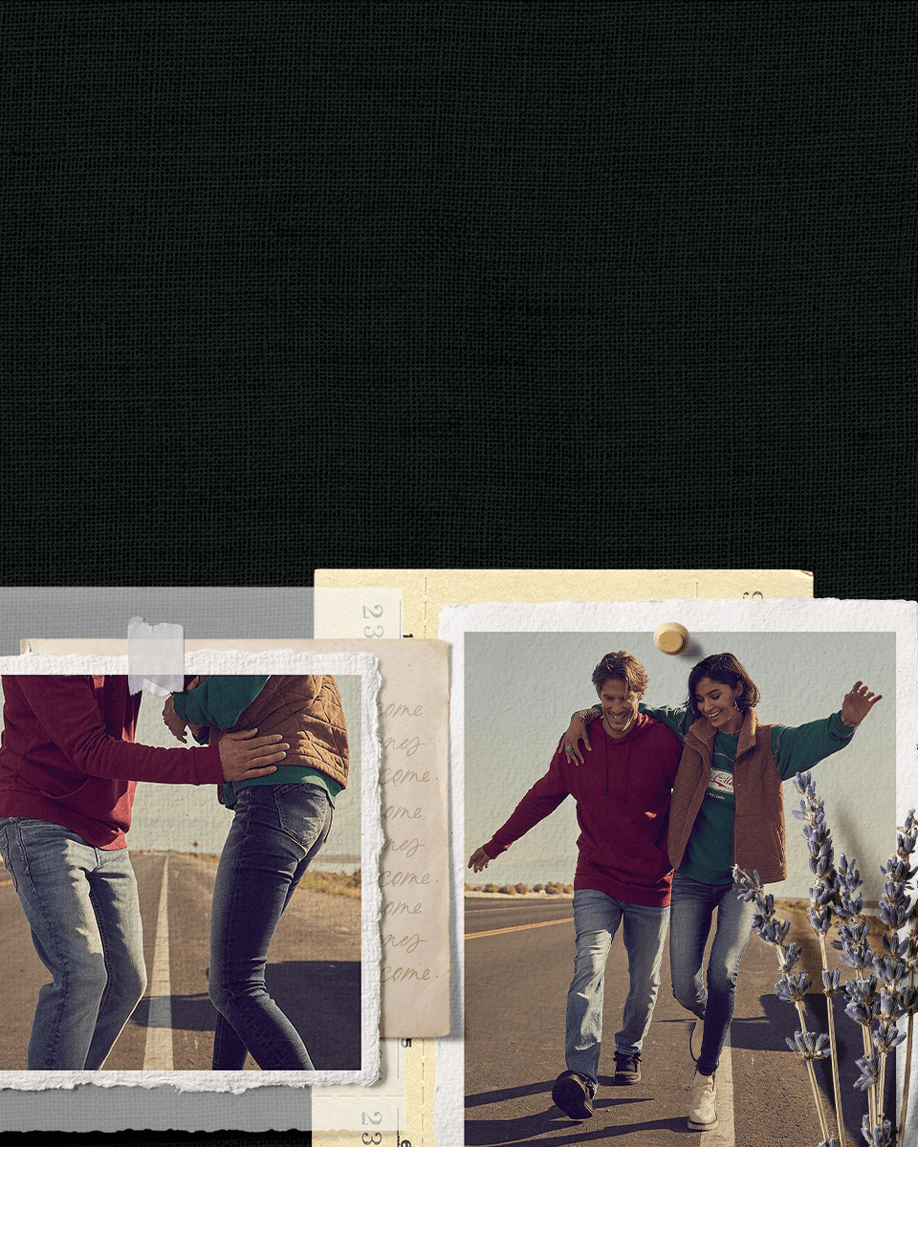 Guy wearing a red top with light wash jeans and gal wearing a green top with a brown vest and medium wash jeans.
