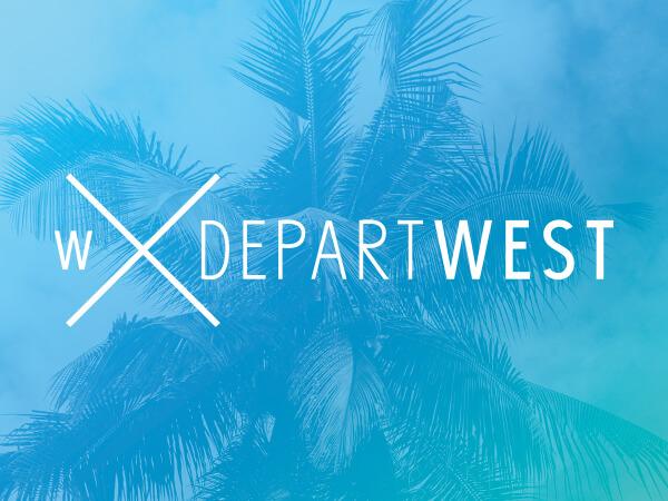 Departwest logo on bright blue decorative background.