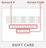 For e-giftcards, the account number is displayed above the access code. The access code is labelled as PIN.