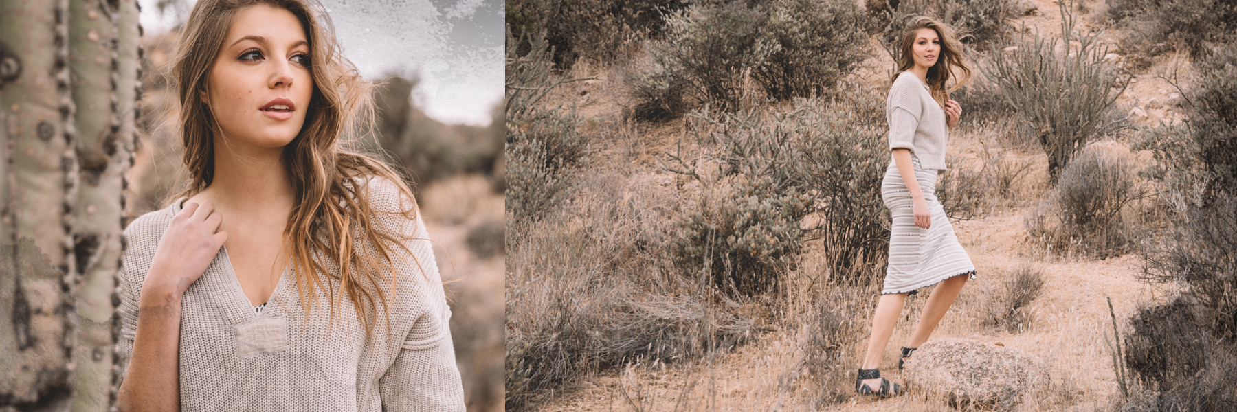 Two different views of model wearing Gimmicks split neck sweater and pencil skirt, walking in desert.