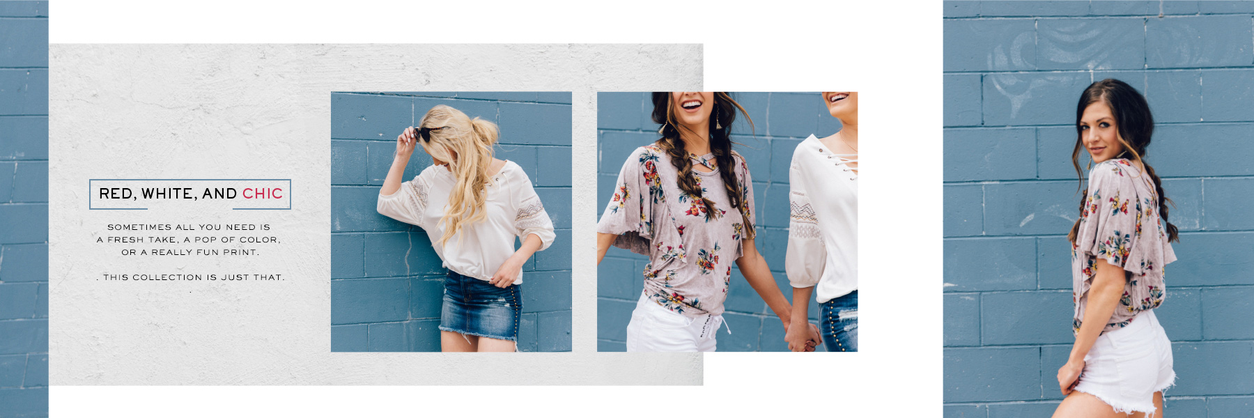 A girl wearing a grey Gimmicks floral short sleeve top and a white Gimmicks 3/4 sleeve top with Buckle denim