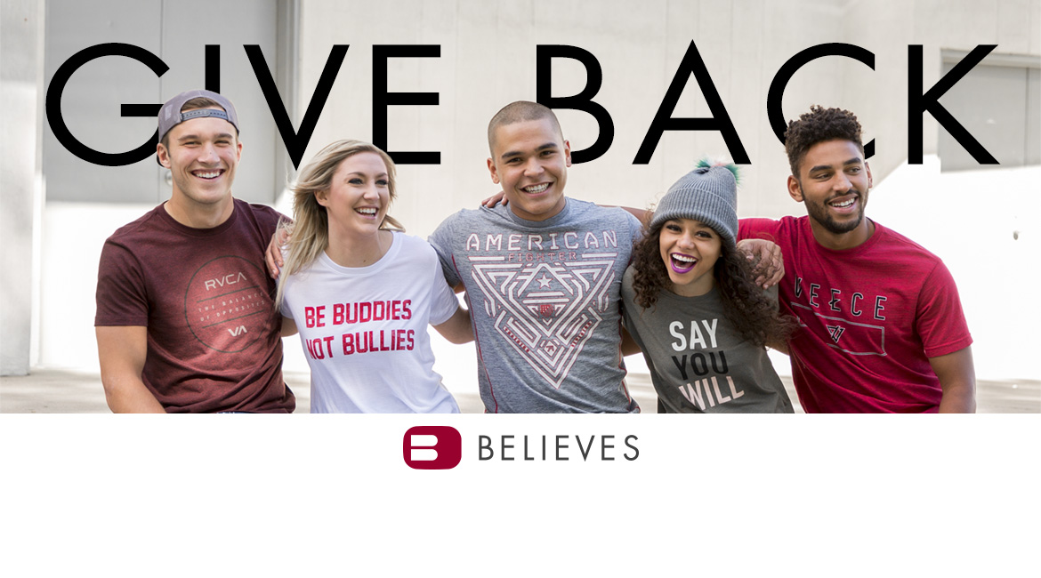 Three guys and two girls wearing Buckle Believes shirts