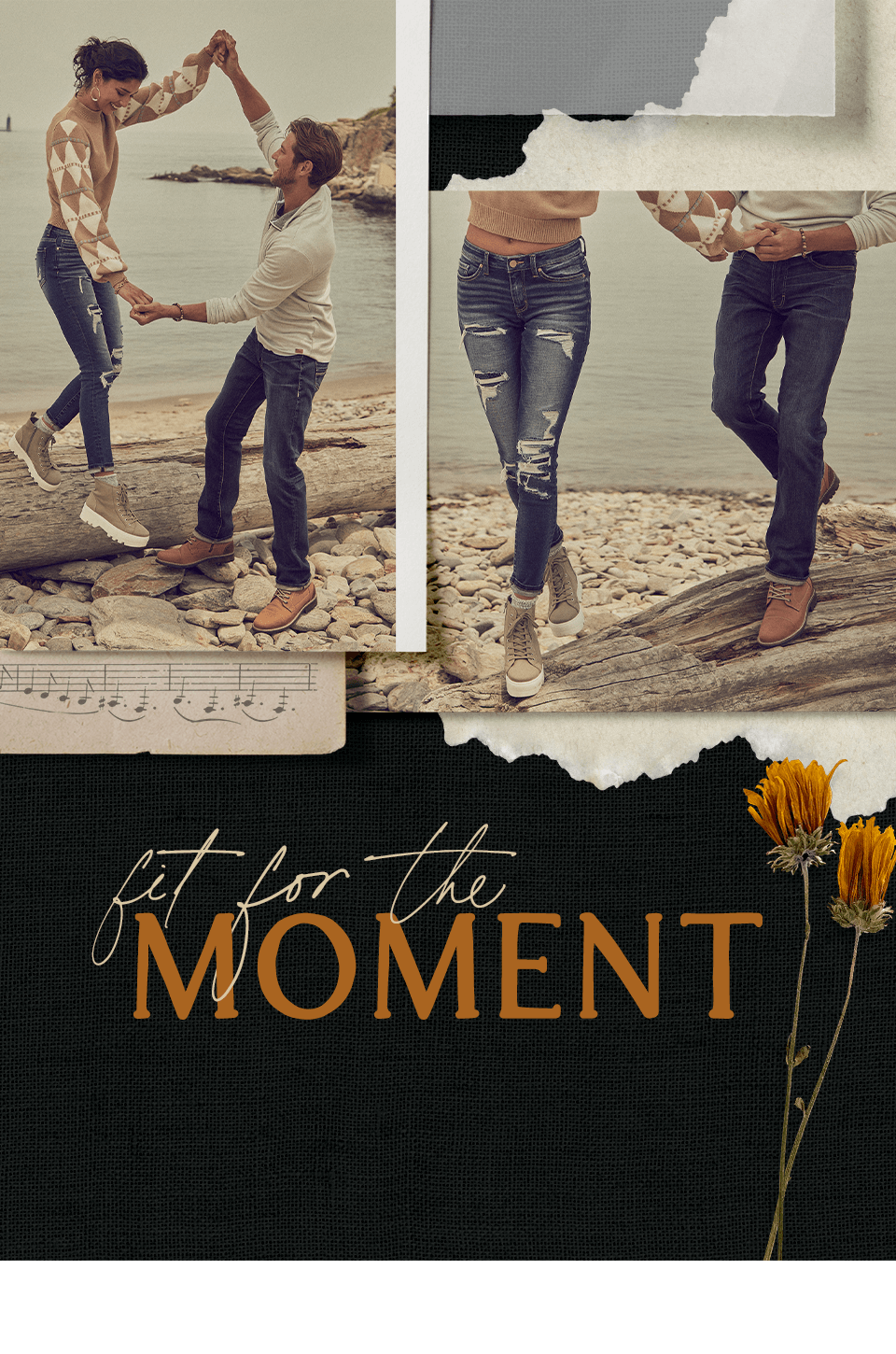 Fit For The Moment - A guy wearing a pair of dark washed denim with a cream sweater. A girl wearing a pair of distressed dark washed denim with a brown and cream sweater.