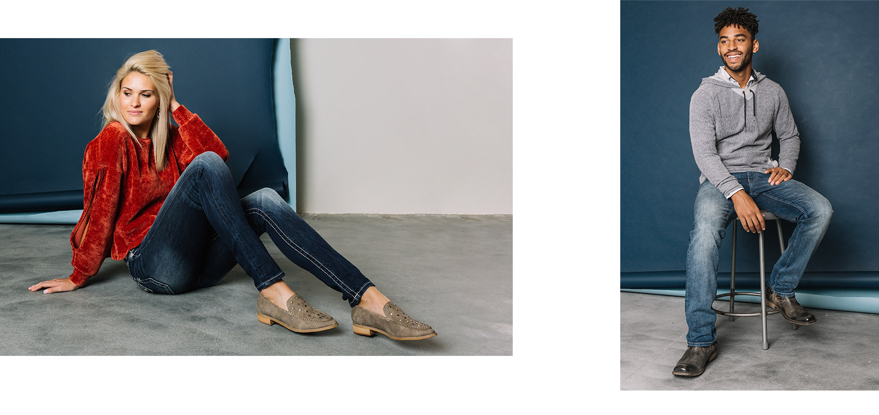 Collage of girl and guy modeling jeans that are exclusive to Buckle.