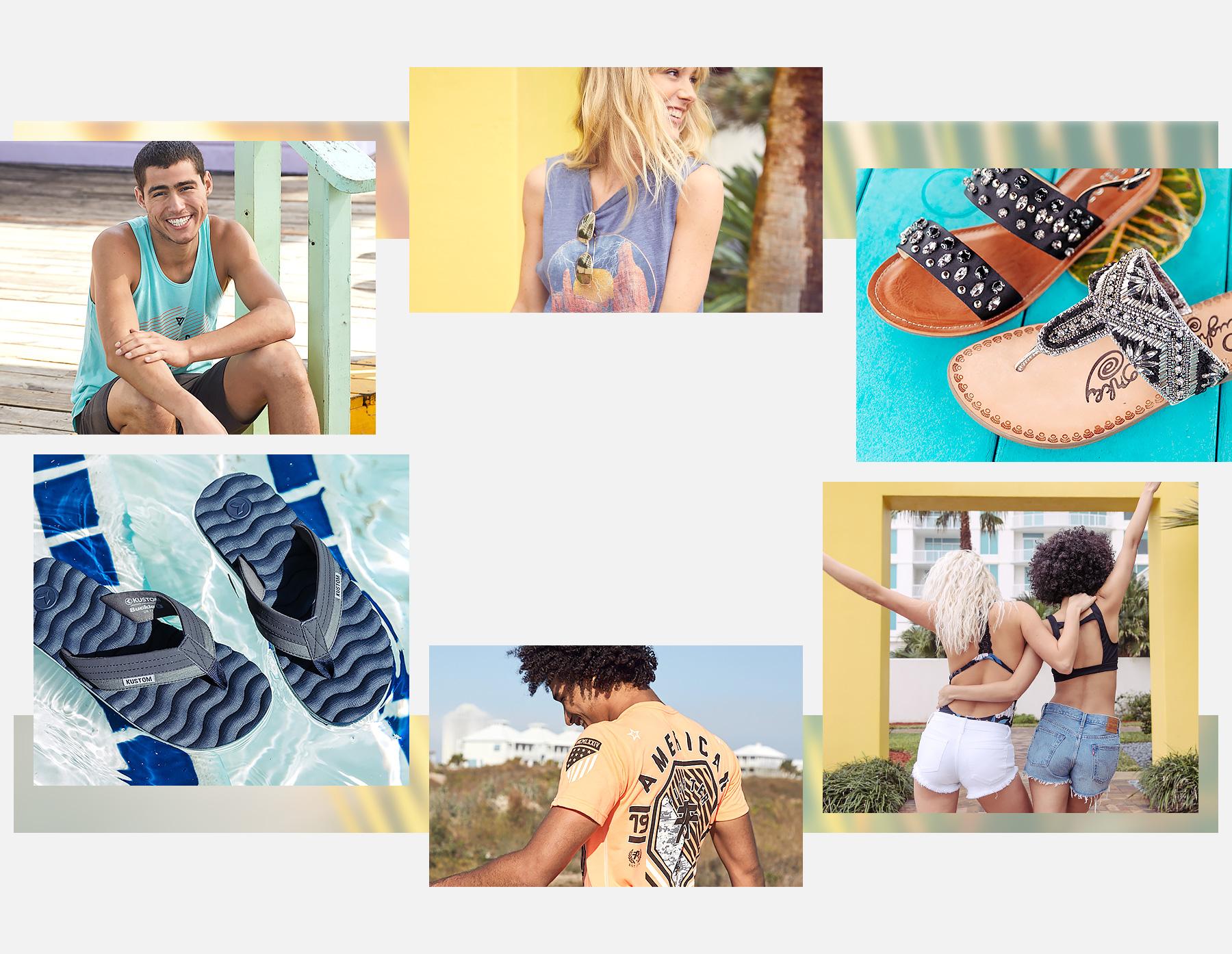 Guys wearing graphic tops. Girls wearing swimwear and denim shorts. Three pairs of sandals.