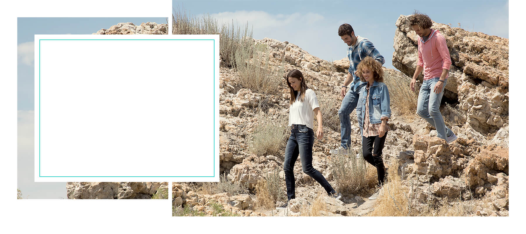 Group of people walking on rocks, wearing Buckle spring clothes.
