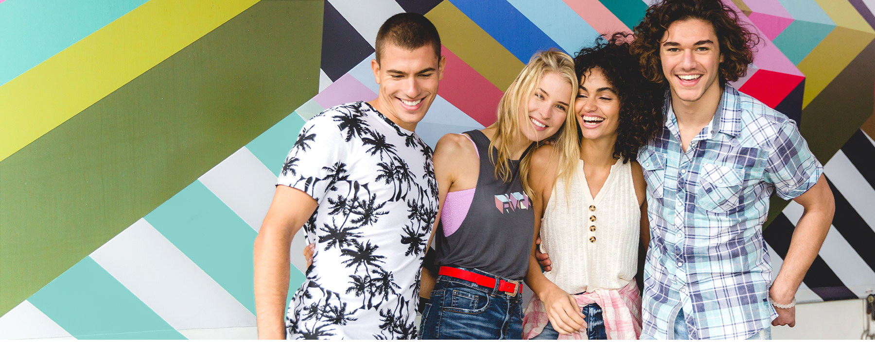 Group of people all wearing new arrivals from Buckle's summer 2019 collection.
