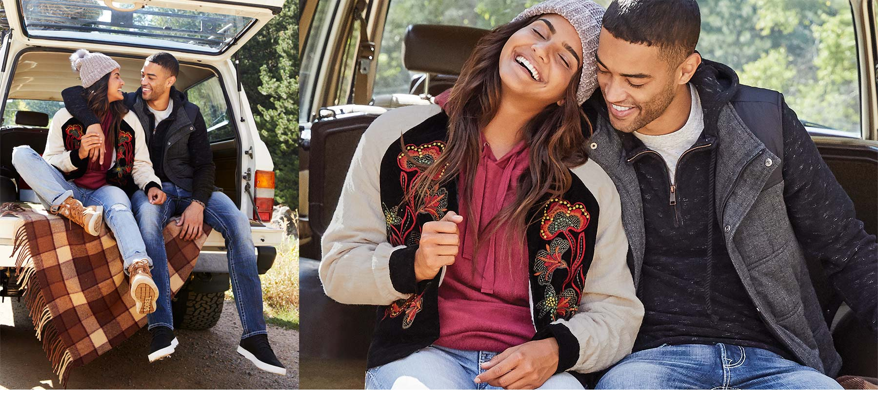 Collage of couple sitting in the back of a jeep, cuddling and laughing. Both couples are wearing winter outfits from Buckle.