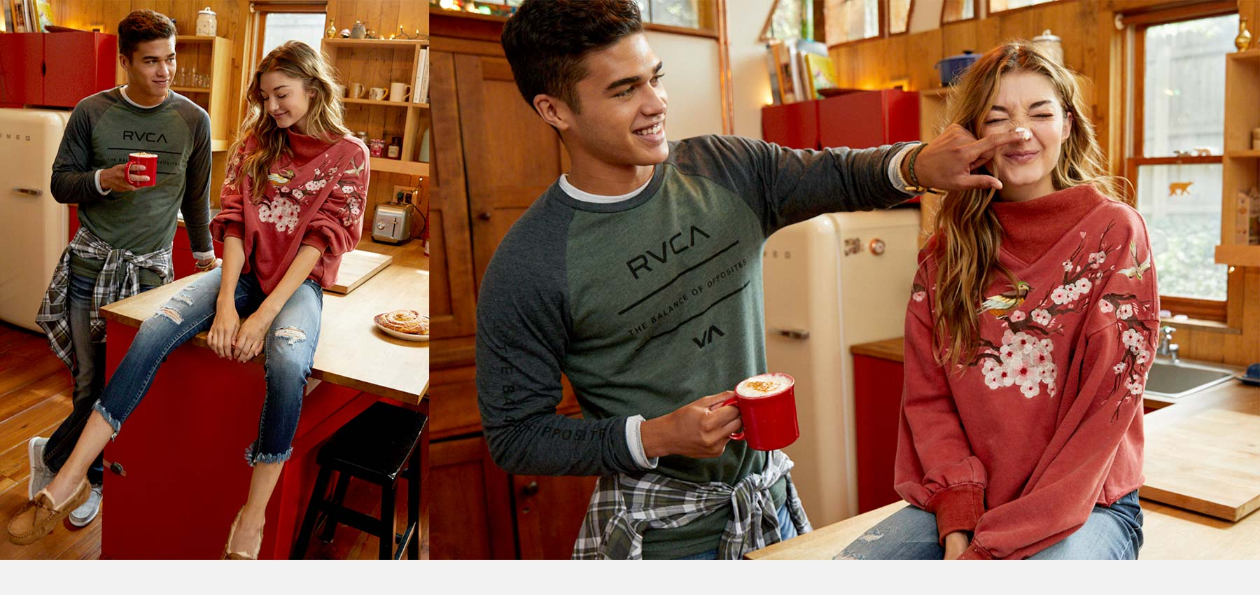 Couple in kitchen drinking hot chocolate wearing new styles from Buckle's holiday collection.