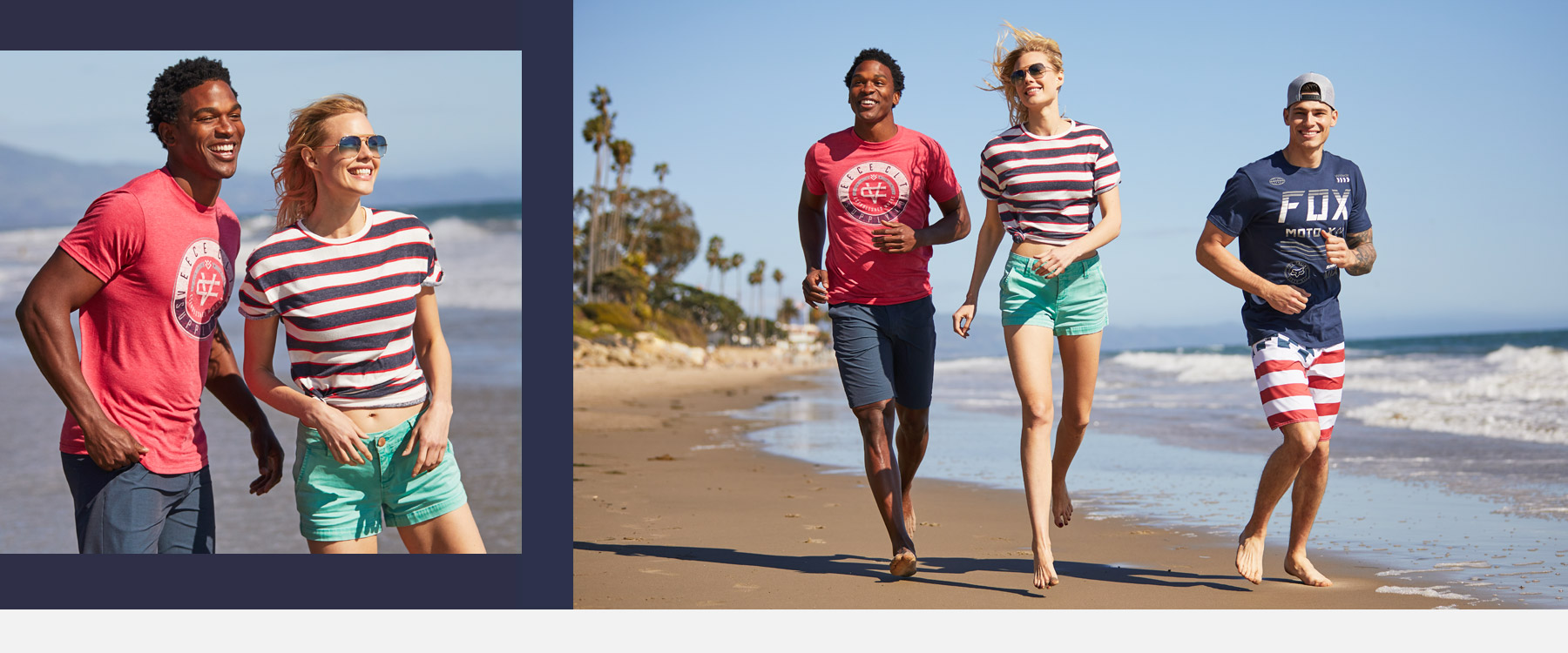 Guy wearing a red Veece graphic tee with blue shorts. A girl wearing blue and white striped tee with green shorts. A guy wearing a blue Fox graphic tee with red and white striped boardshort.