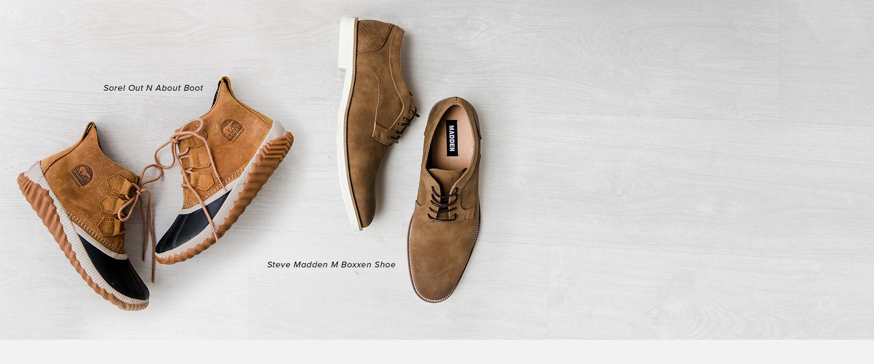 Featuring women's Sorel Out N About Boot and men's Steve Madden M Boxxen Shoe.