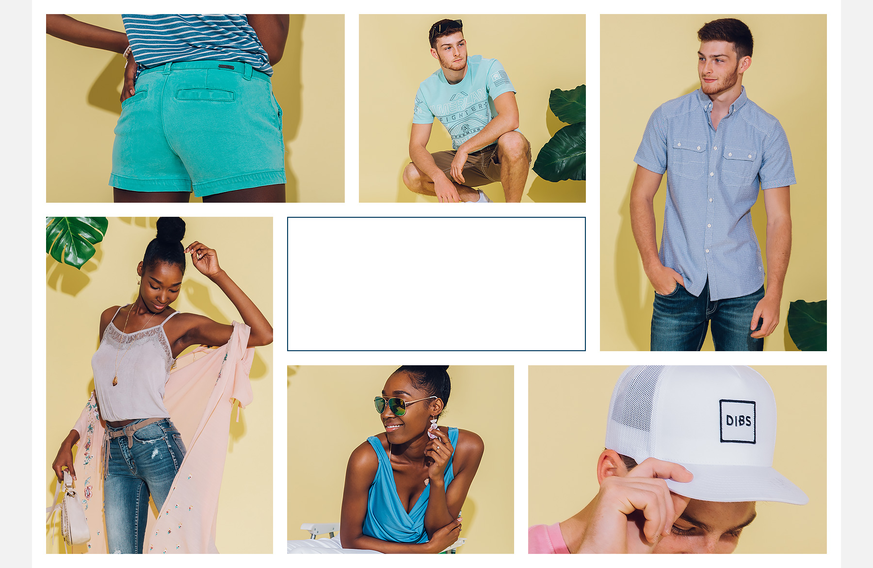 Collage of men's and women's outfits to shop.