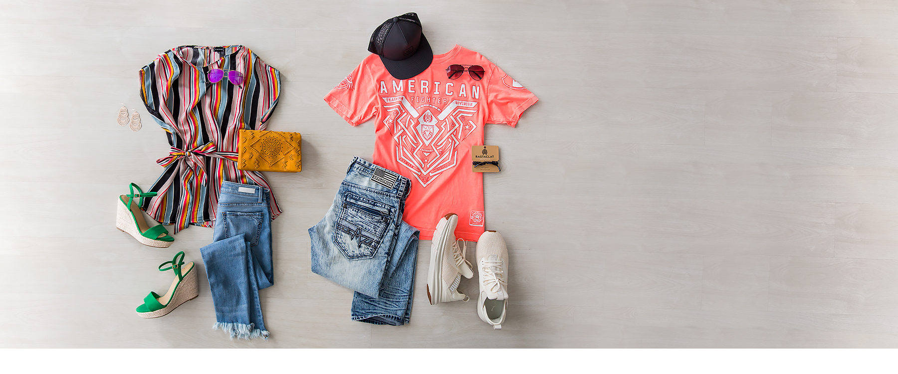 Laid down men's and women's outfit with new summer product from Buckle.