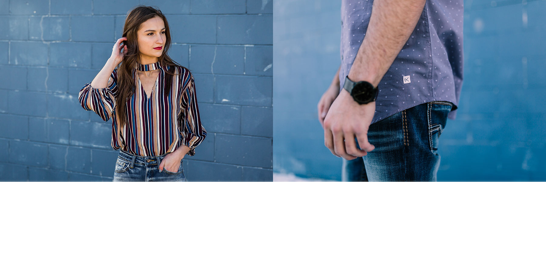 Girl wearing a blue and cream striped top and a guy wearing a blue Departwest printed shirt with dark wash denim
