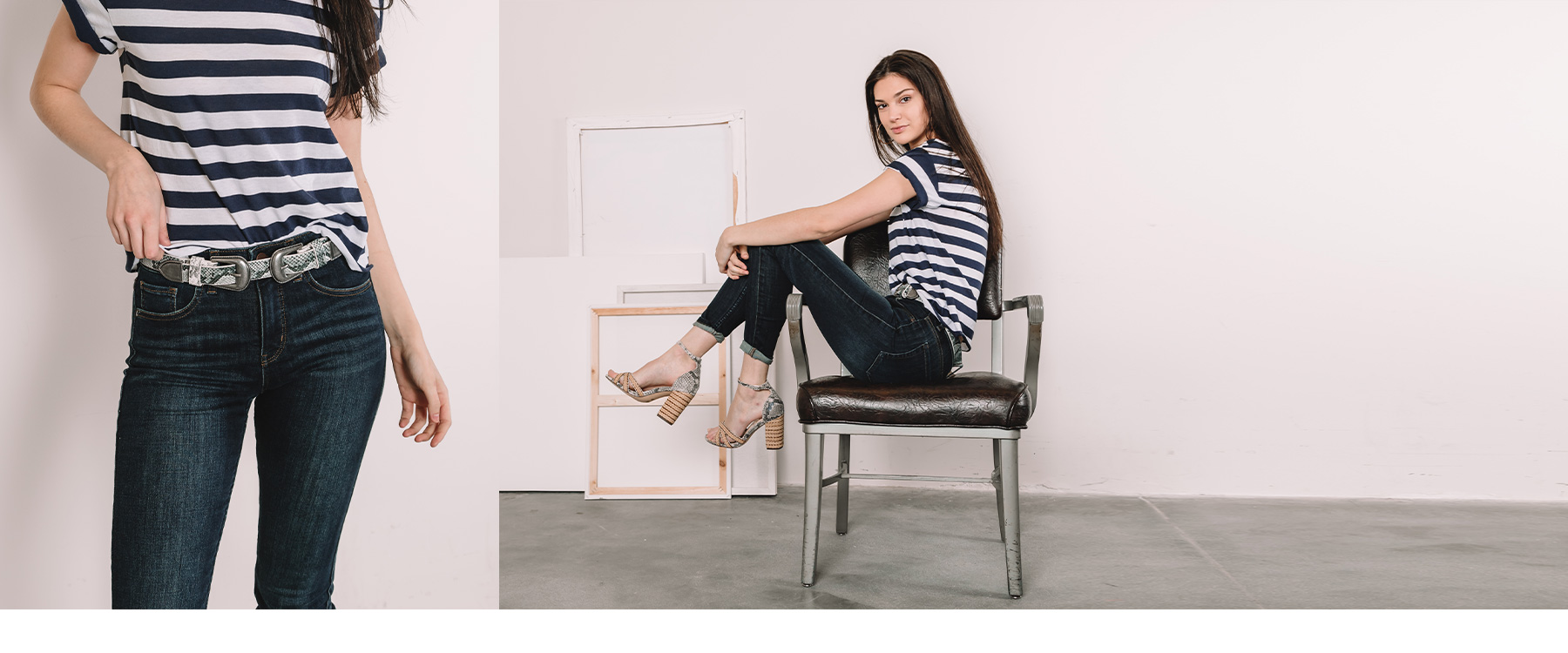 Girl sitting sideways in a chair, wearing dark skinny jeans and a striped t-shirt from Buckle.