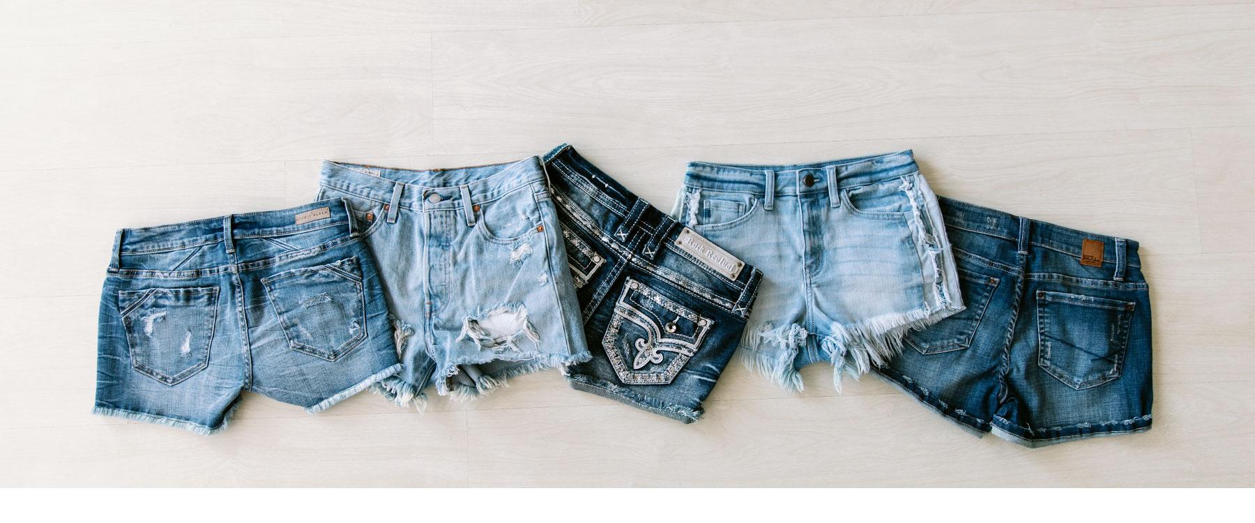 Five pairs of women's denim shorts