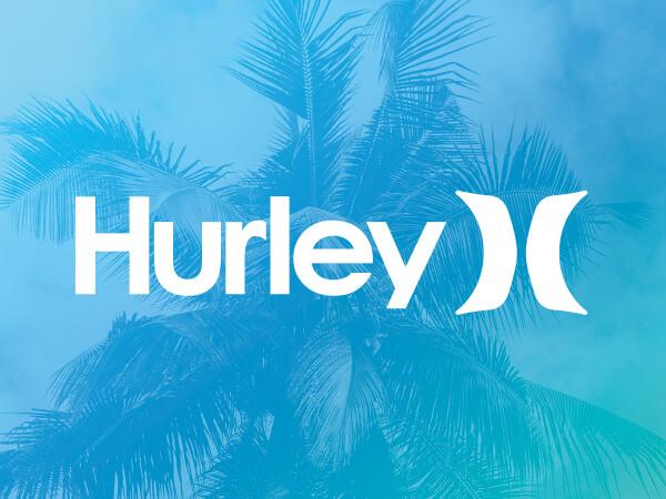 Hurley logo on bright blue decorative background.