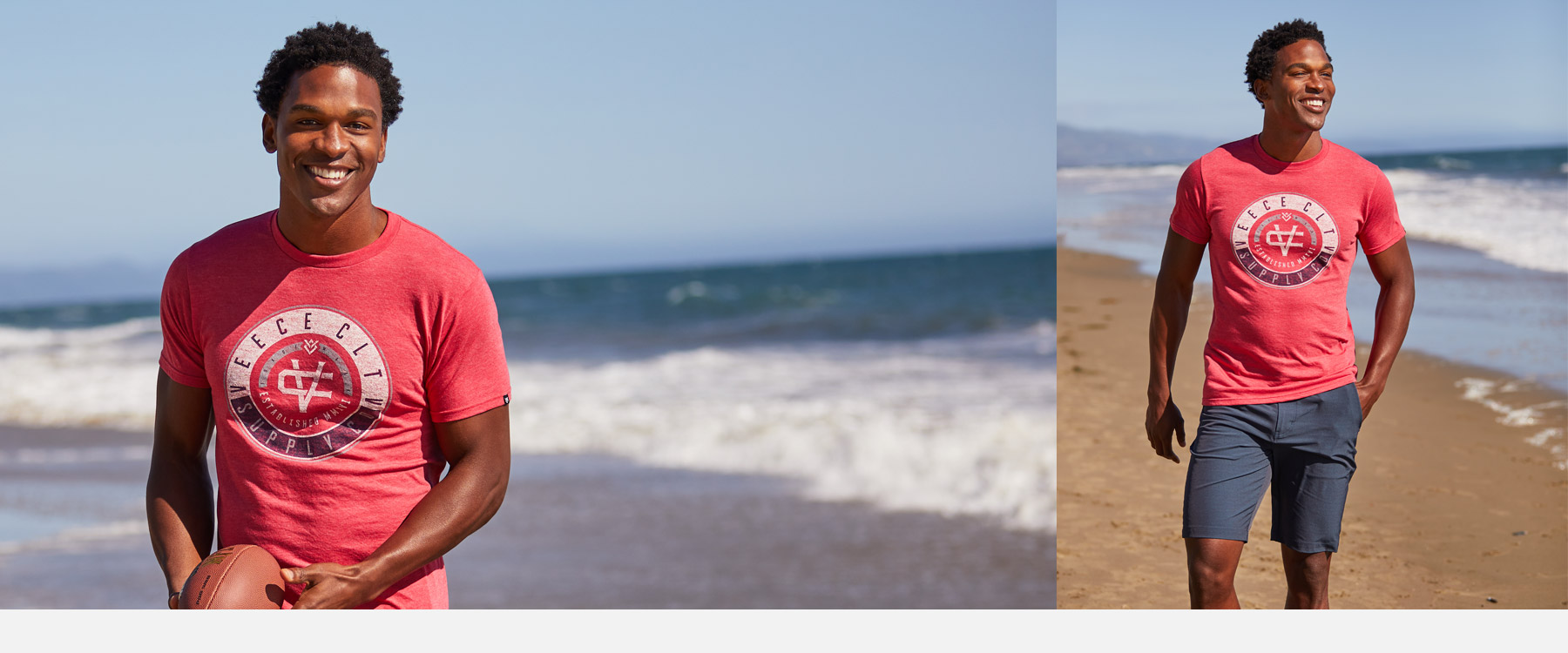 Guy wearing a red Veece graphic tee with a blue walkshort on the beach.