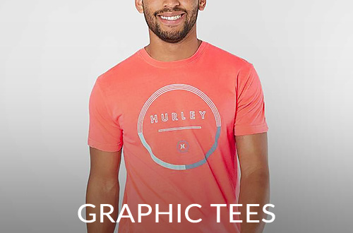 Guy wearing a Hurley short sleeve graphic tee