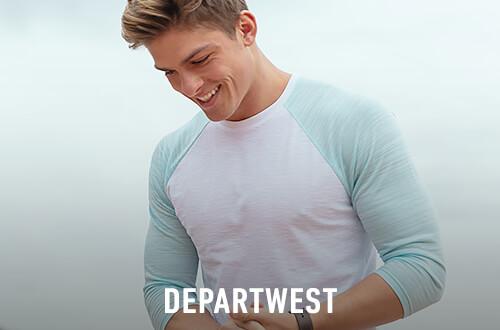 Man wearing a turquoise and white Departwest raglan t-shirt - Shop Departwest