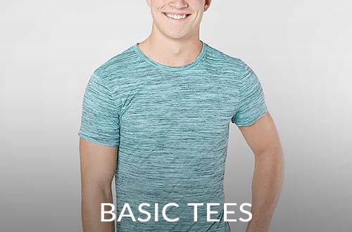 Guy wearing a green short sleeve basic tee