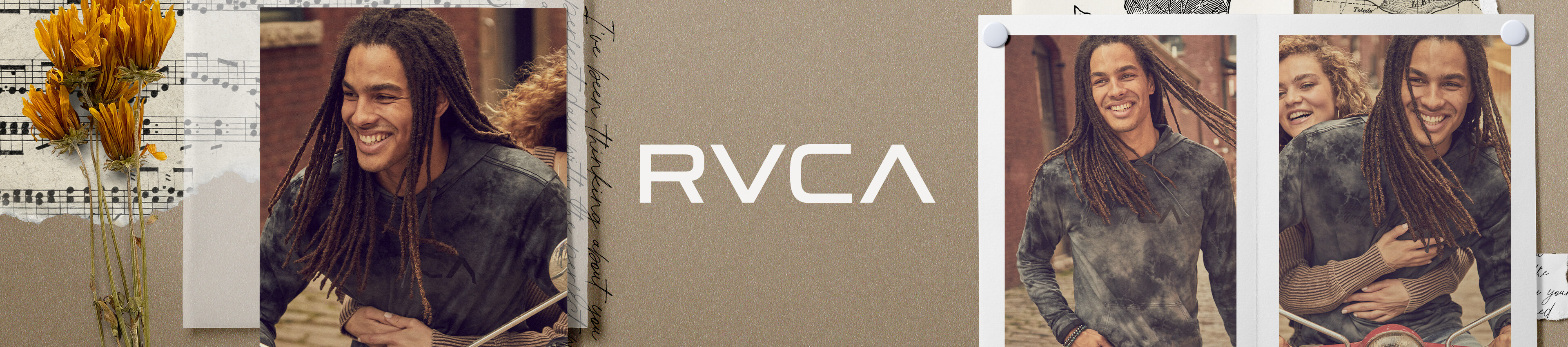 Guy wearing a blue and cream tie-dye RVCA long sleeve t-shirt