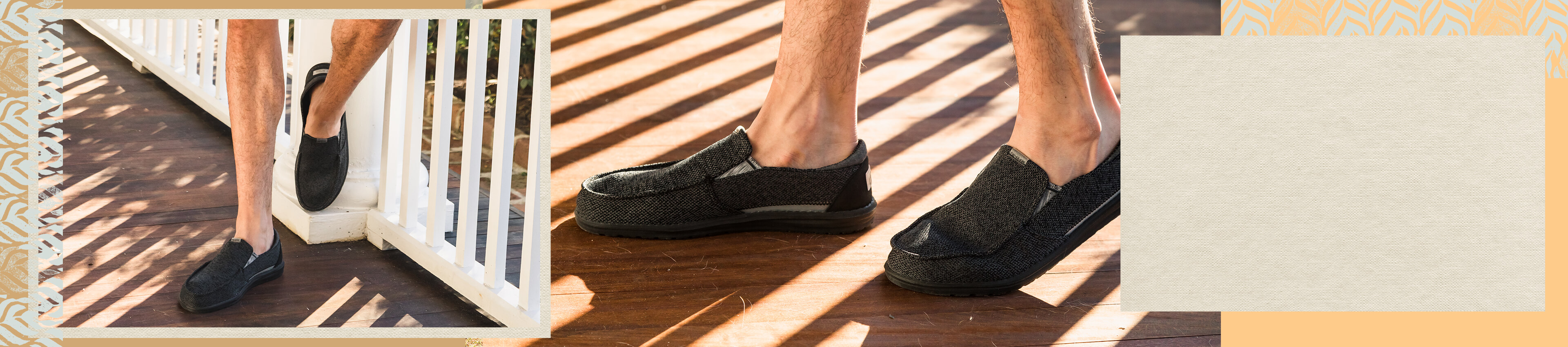 A guy wearing a pair of black Hey Dude shoes
