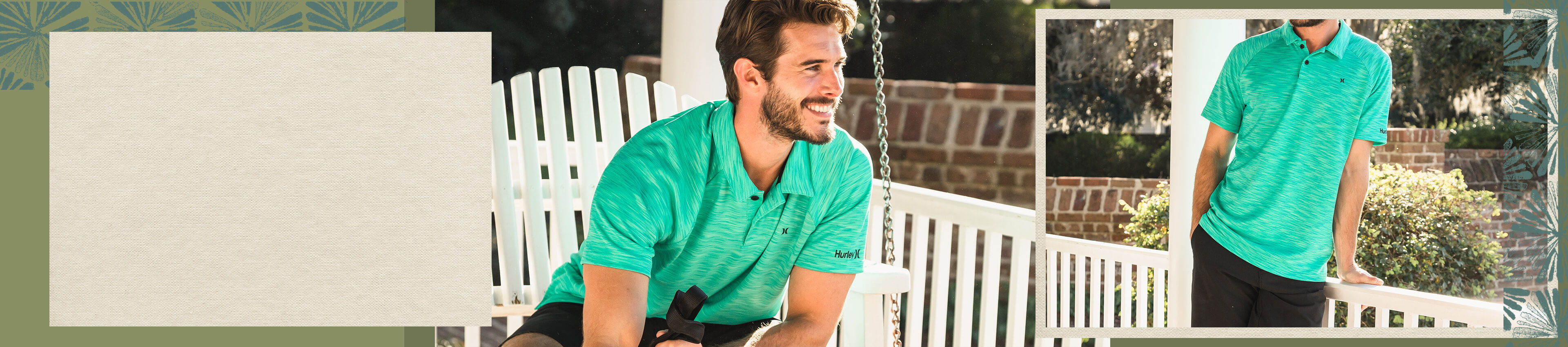 Guy wearing a green Hurley polo with black shorts