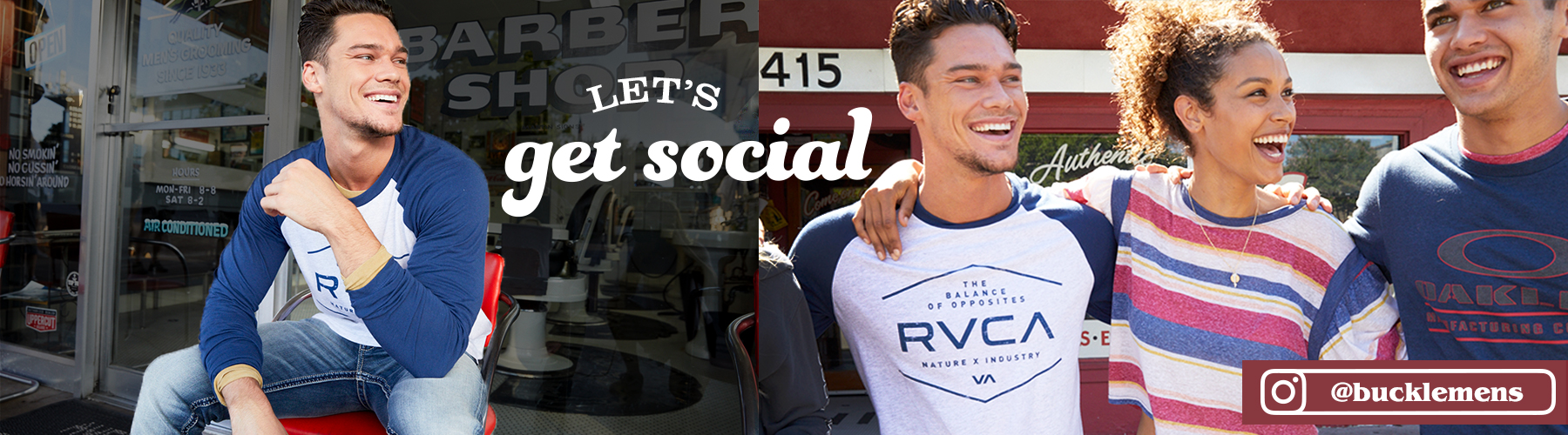 Let's Get Social - Guy wearing a blue and white raglan sleeve RVCA t-shirt with a girl wearing a short sleeve striped top