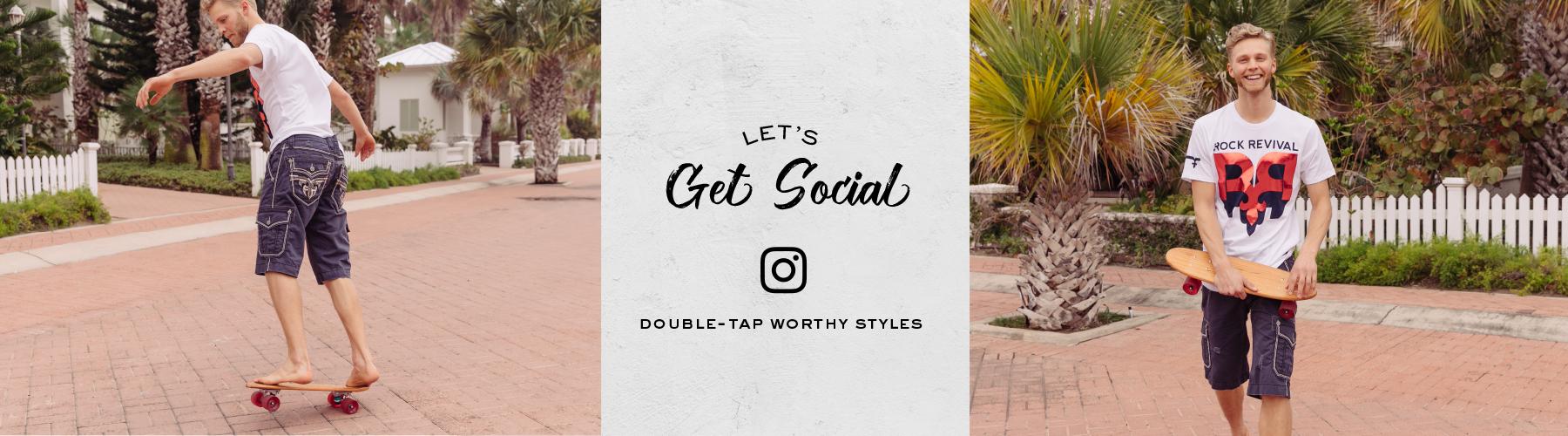 Guy skateboarding wearing Rock Revival shorts and tee. Let's get social, shop men's Instagram.