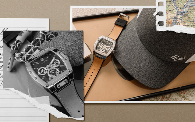 A brown leather watch with a black Fox hat and a black belt.