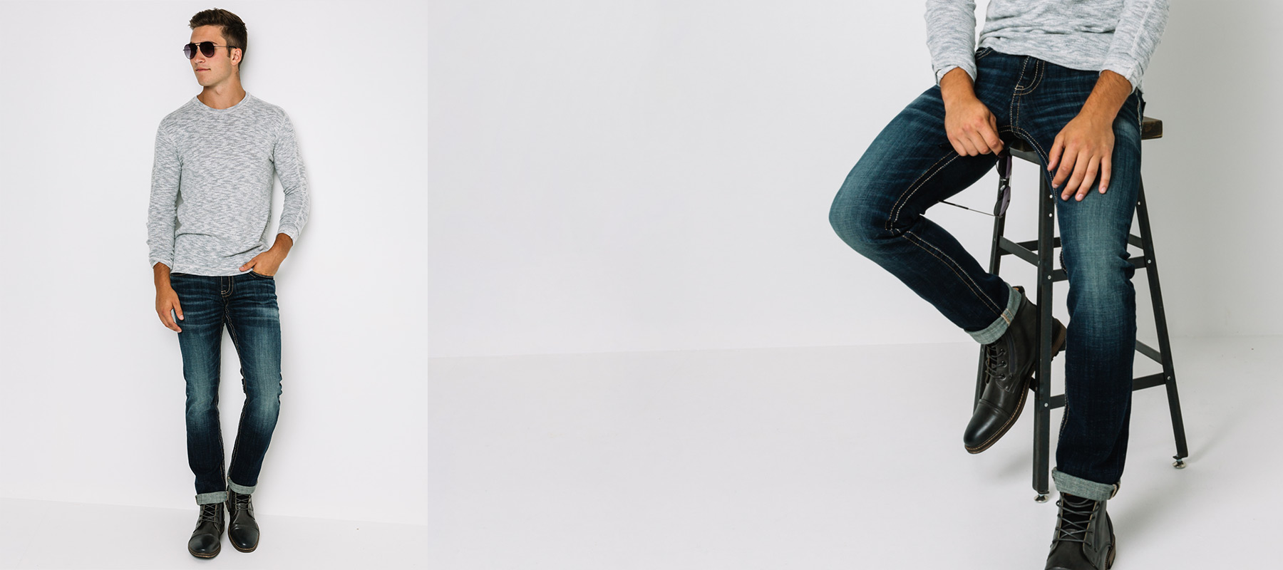 Guy sitting on stool wearing dark, clean jeans and black boots from Buckle.